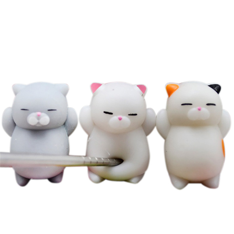 3pcs Cute Mochi Squishy Cat Squeeze Healing Fun Kids Kawaii Toy Stress Reliever Decor Squeeze Toy For Children A1