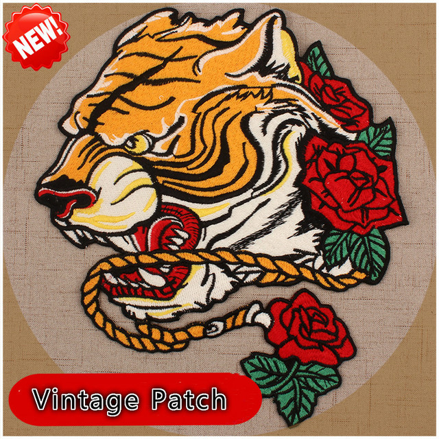 Water Soluble Tiger Rose Embroidery Patch Clothing Accessories Large Clothes  Decoration Chinese Wind Personality Badge Sticker 3fcb8f2d9981