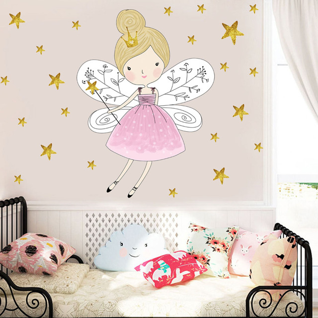 Cute Cartoon Fairy Girl Wall Sticker Diy Stars Baby Girl Wall Decal Kids  Bedroom Sofa Decoration