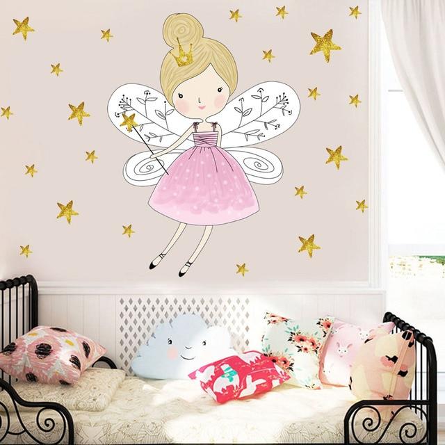 Cute Cartoon Fairy Girl Wall Sticker Diy Stars Baby Girl Wall Decal Kids  Bedroom Sofa Decoration