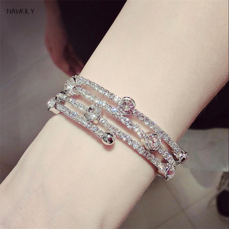 NAWEILY 3 Layers Crystal Cuff Bracelets Fashion Luxury Full Rhinestone Bangles Pulseira Feminina Women Jewelry Bijoux Gift PC001