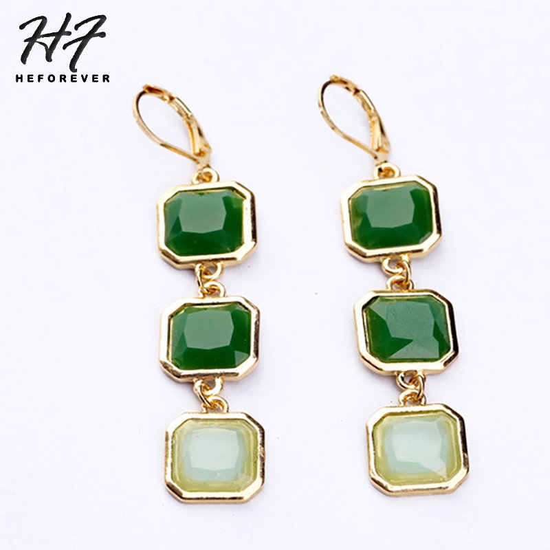 Long Earrings for Women Gold-color Vintage Green Stone Setting Square Dangle Earring Fashion Jewelry 2018 Gift for Girl KA360