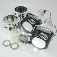 2pc bixenon lens with Shroud 2.5inch projector lens for H4 H7 Bi xenon bi-xenon lens H1,H11,9005,9006 car hid headlight