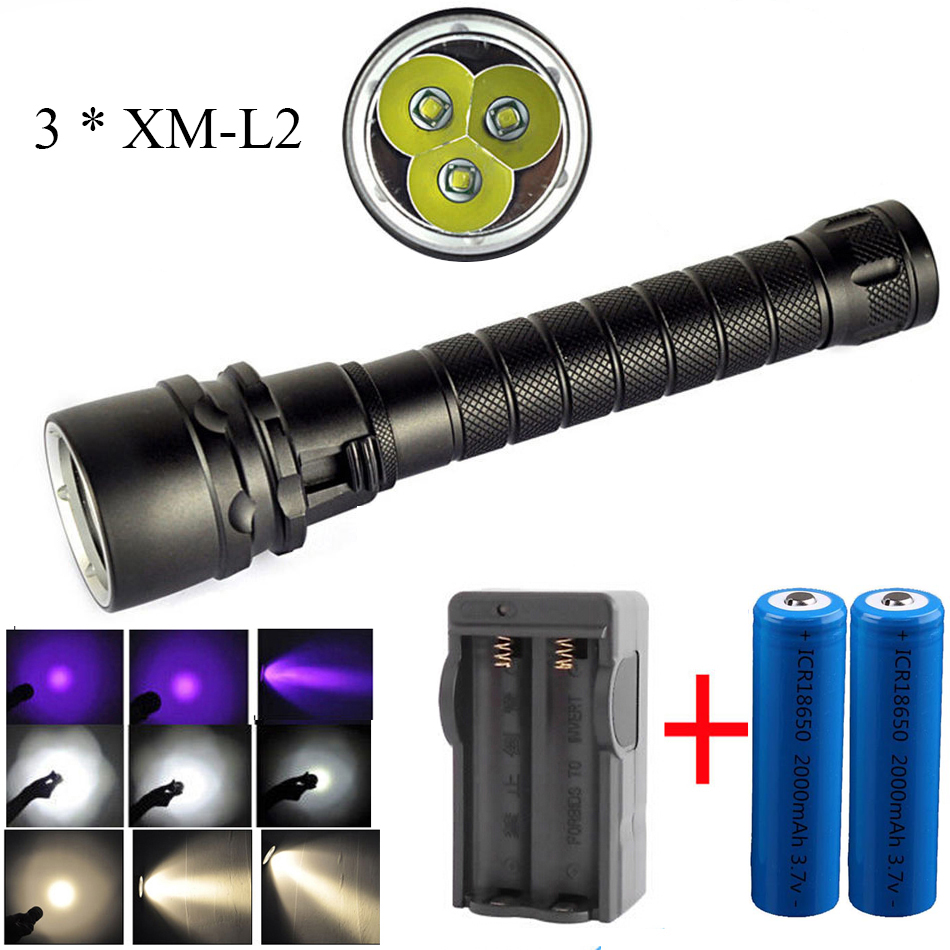 Led diving flashlight UV / White / Yellow light 3 * cree ...
