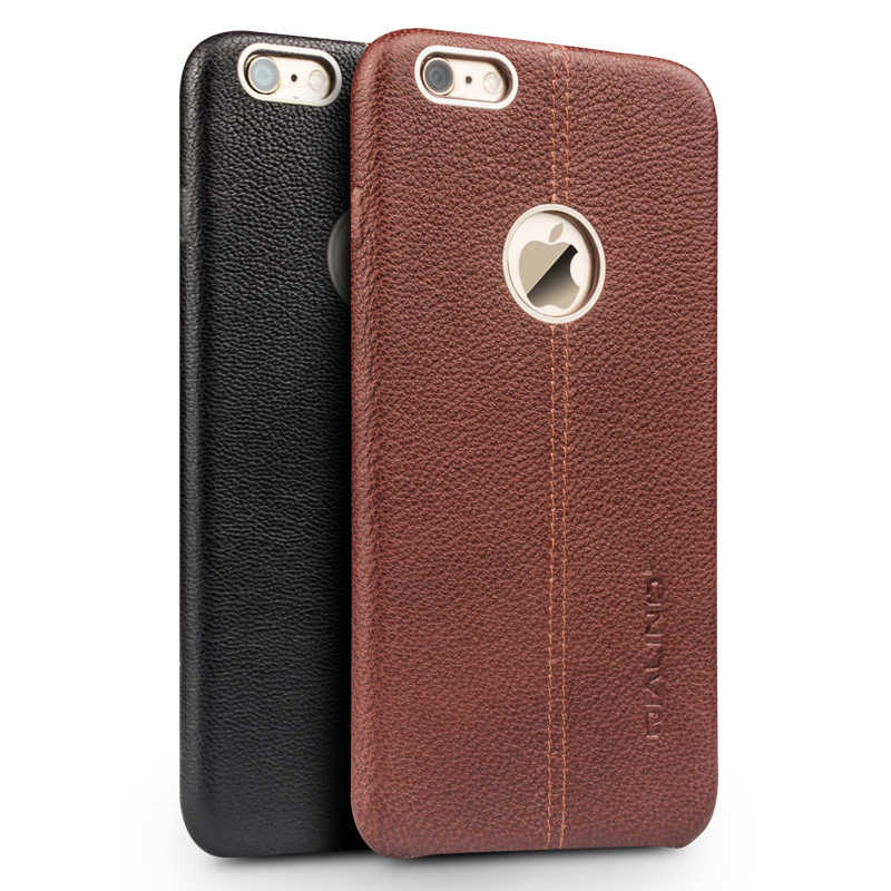 QIALINO Genuine Couro Caso de Telefone Celular para iPhone6 6 s Moda luxo Ultra Slim Tampa Traseira para iPhone6 6 s plus 4.7/5.5 polegadas