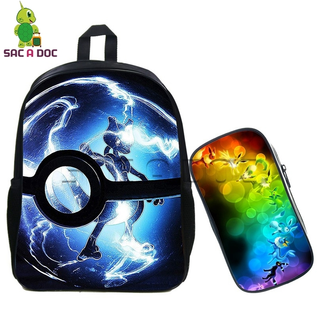 91f47c6f4cbf Pokemon 2 Pcs Set Backpack for Teenagers Girls Boys School Bags Pencil Case  for Children Mochila
