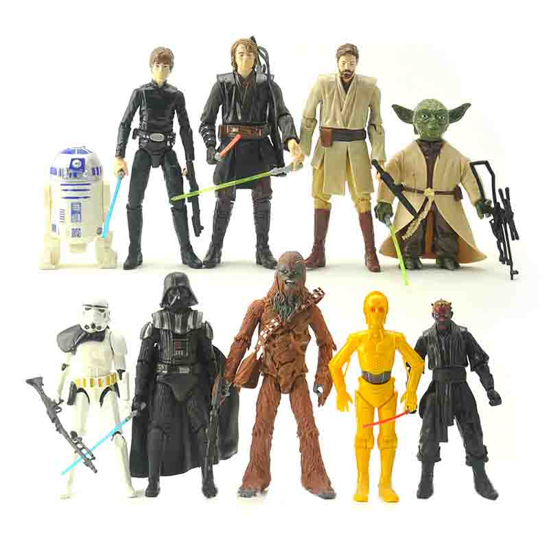 10pcs/Set Star War Action Figure Model Toy Star War Stormtrooper Darth Vader Yoda Display Juguetes Birthday Children Brinquedos free shipping super big size 12 super mario with star action figure display collection model toy