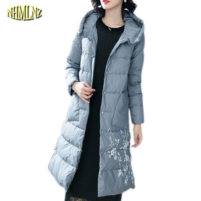 Женская зимняя куртка пуховик, Новая модная женская куртка пуховик на белом утином пуху, большой размер, повседневное тонкое пальто, тонкое
