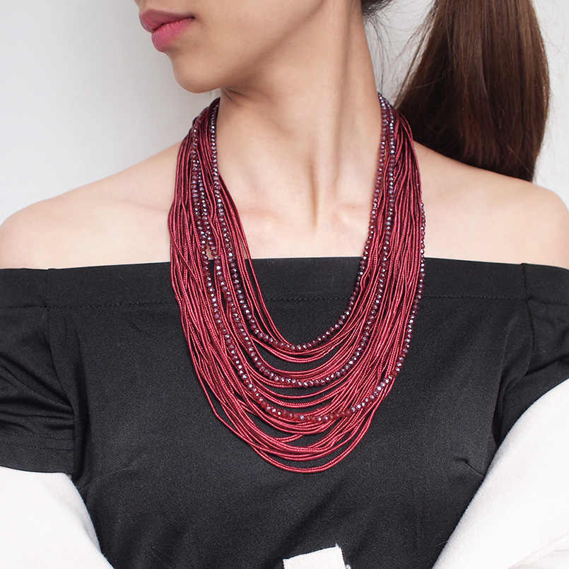 MANILAI Long Multi layers Statement Necklace For Women 2019 Boho Ribbon Crystal Beaded Necklaces Pendants Girl Fashion Jewelry