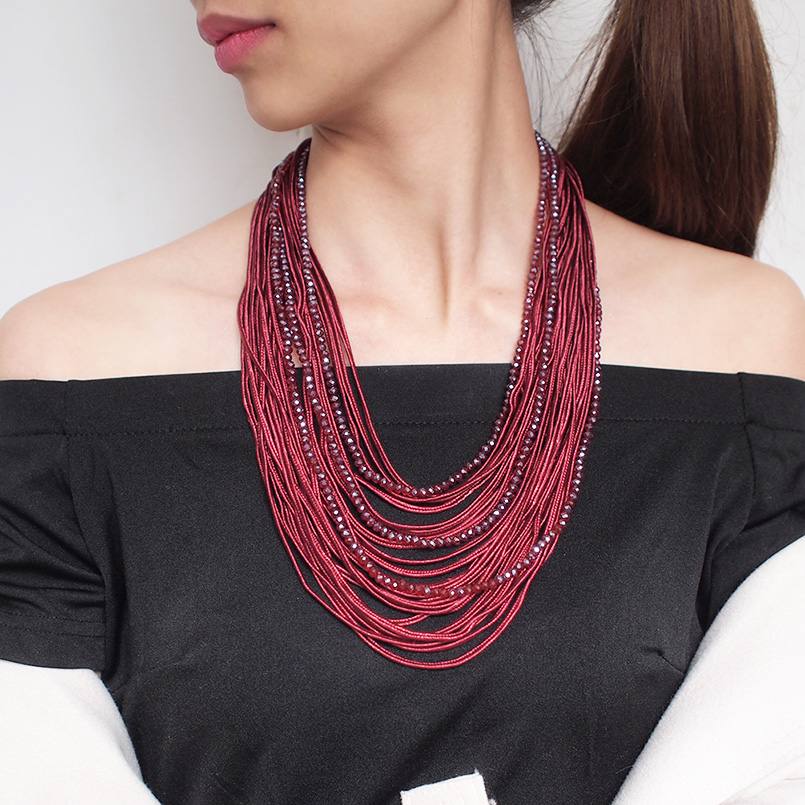 MANILAI Longue Multi couches collier de déclaration Pour Les Femmes 2019 Boho Ruban Cristal Perlé Colliers Pendentifs Fille bijoux tendance