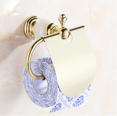 High Quality Gold Toilet Paper Holder ,Solid Brass and Jade Paper Roll Holder, New Tissue Holder, -Bathroom Accessories Products free shipping jade & brass golden paper box roll holder toilet gold paper holder tissue box bathroom accessories