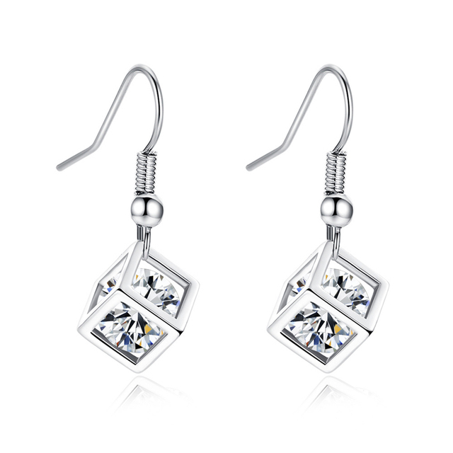 Fworld Box Hollow Cage Small Dangle Earrings Wred Zirconia Personality Designed For Women Hanging In The