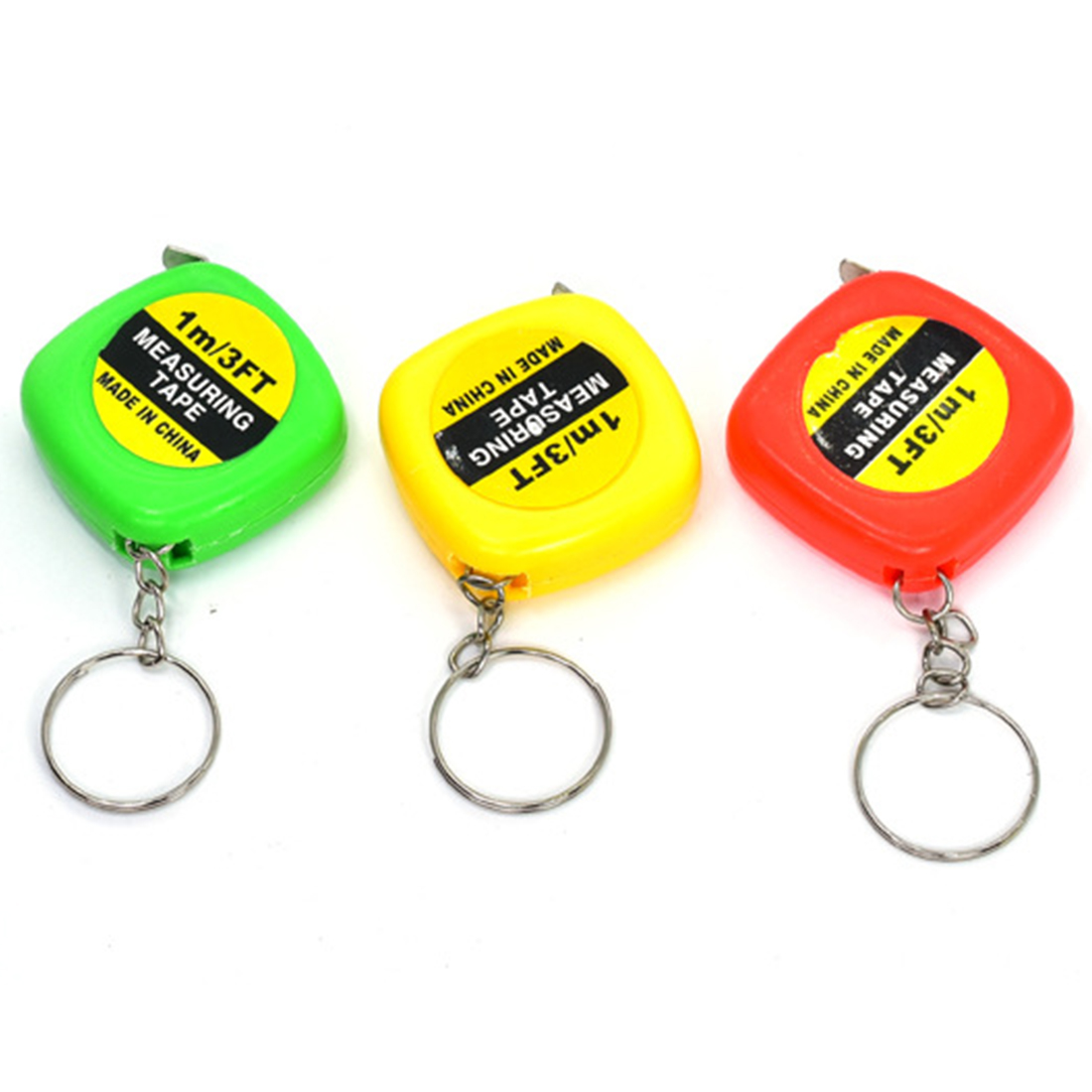 NEW 1pc 1m/3ft Easy Retractable Ruler Tape Measure Mini Portable Pull Ruler Keychain Color Random random color ball flamingo round keychain