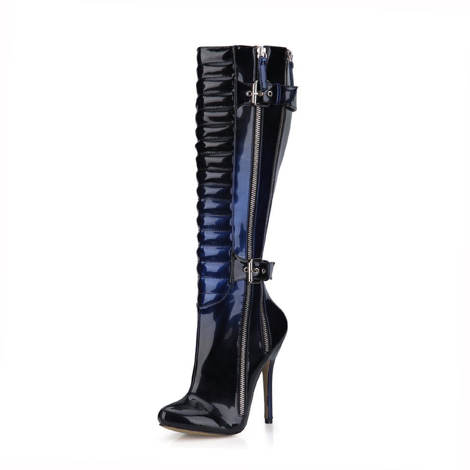 2016 Winter Blue Black Sexy Party Shoes Women Stiletto High Heels Buckle Zipper Ladies Knee-High Boots Zapatos Mujer 0640cbt-y3