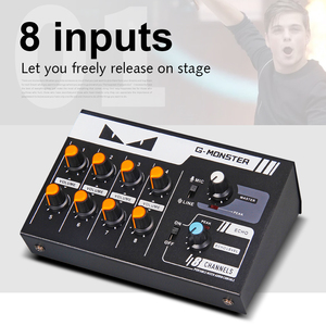 Image 2 - G MARK 8 channels Mini portable mixer audio console Mono/Stereo Sound system Extended for instrument microphone guitar Bass