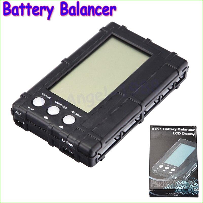 Construcción original de 3 en 1 Batería RC balanceador 2 s-6 S Lipo li-fe LCD + VOLTAGE meter tester + descargador