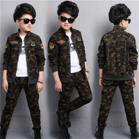 Fashion Male child clothing autumn set camouflage cotton 100% sports sets child spring Boys coat +pants 2pcs 5 7 8 10 12 14 year