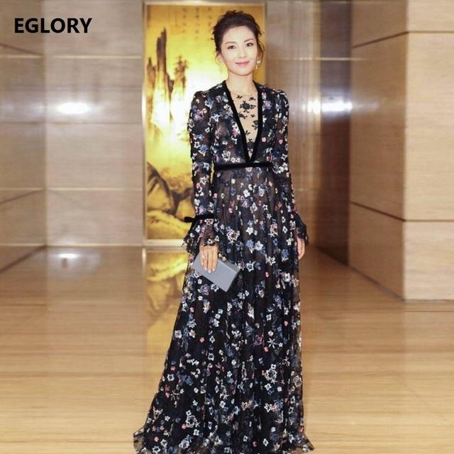 f8678d5d186 2018 Spring Maxi Dresses Celebrity Inspired Style Women Hollow Out Mesh  Embroidery Flare Sleeve Princess Party Long Dresses XL