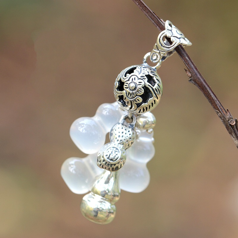 natural white pendant medullary hoist manual DIY silver accessories 925 Sterling Silver Pendant