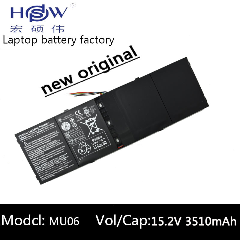HSW 53wh 15.2V AP13B8K KT00403015 Laptop Battery for ACER Aspire R7 V5 V7 ES1-511 M5-583P R7-571 V5-473G V5-573P V7-481 V7-481G 14 touch glass screen digitizer lcd panel display assembly panel for acer aspire v5 471 v5 471p v5 471pg v5 431p v5 431pg