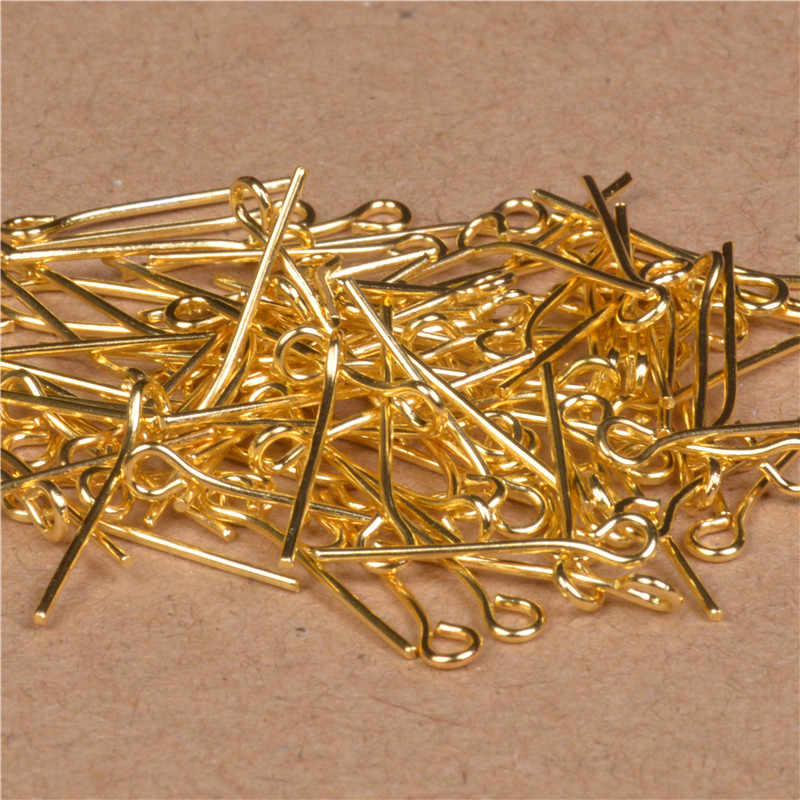 100 Buah Emas Perak Kepala Mata Pin 16 20 25 30 35 40 45 50 Mm Logam Mata Pin Konektor untuk DIY Anting-Anting Perhiasan Pembuatan Temuan