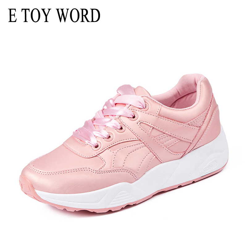 E TOY WORD Brand Pink Sneakers Woman Spring Autumn Breathable Lace Up Casual Shoes Women travel flat shoes zapatos mujer word up