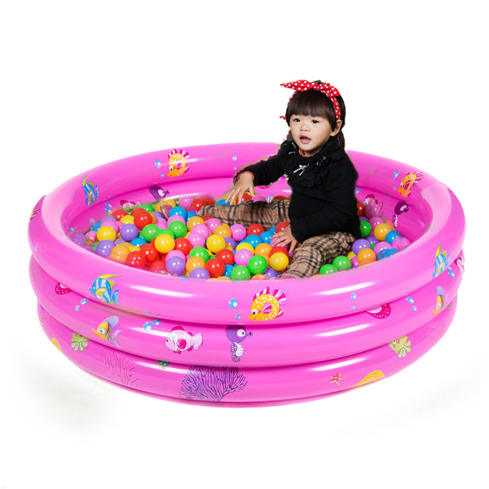 Inflatable Child Pool Children Baby Pool Swimming Three Rings Trinuclear Paddling Pool Disk Bath Tub with Pump Bathtub 3 Size