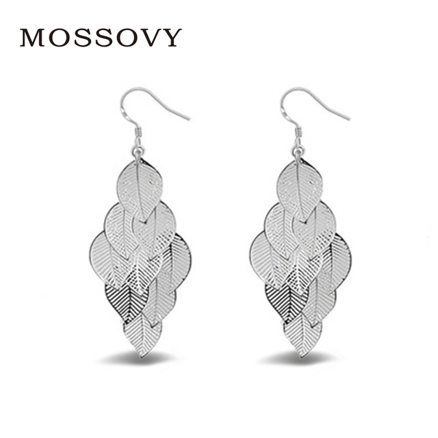 Mossovy Elegant Multi-layer Long Leaf Silver Hoop Earring Delicate  Accessories Ear Ornaments Fashion Earring Jewelry for Women a70e0a470154