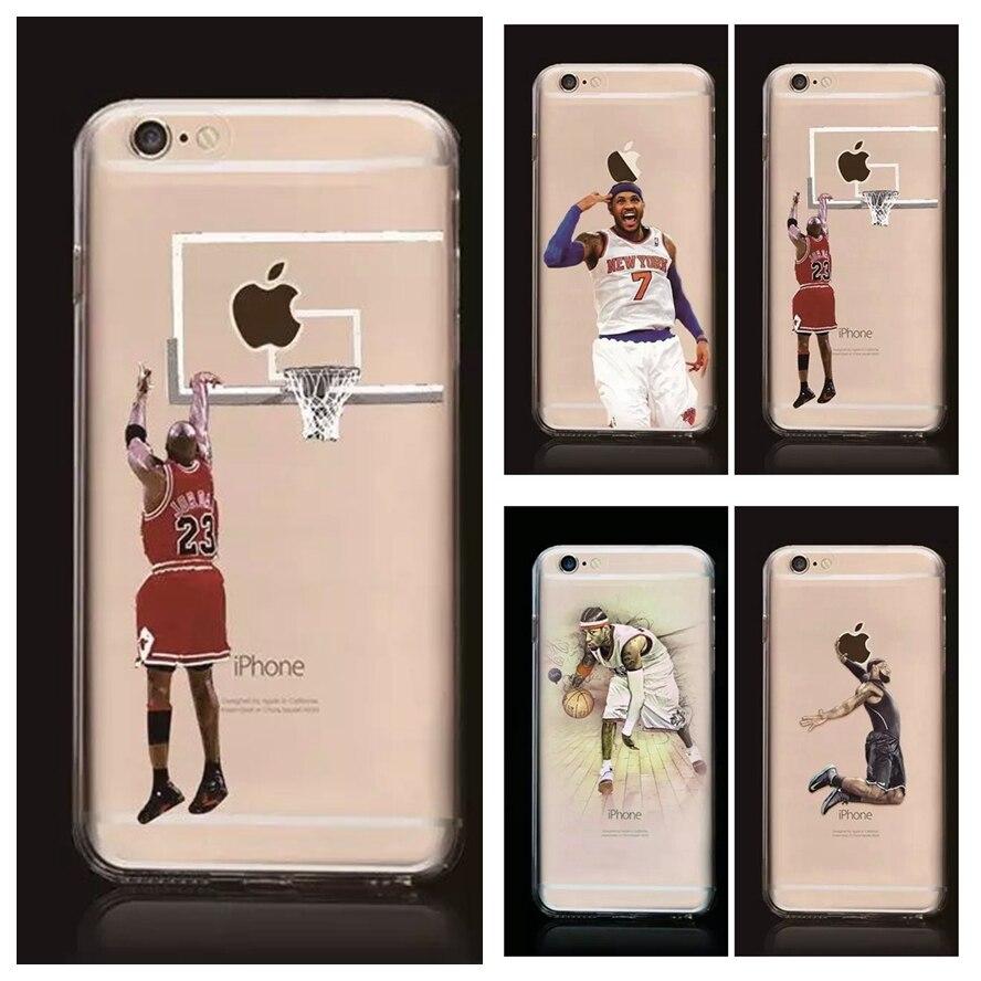 НБА Чехол для <font><b>Iphone</b></font> 7 7 плюс Майкл Джордан 23 Леброн джеймс Харден Карри Кобе Брайан Мягкие Tpu задняя крышка коке fundas