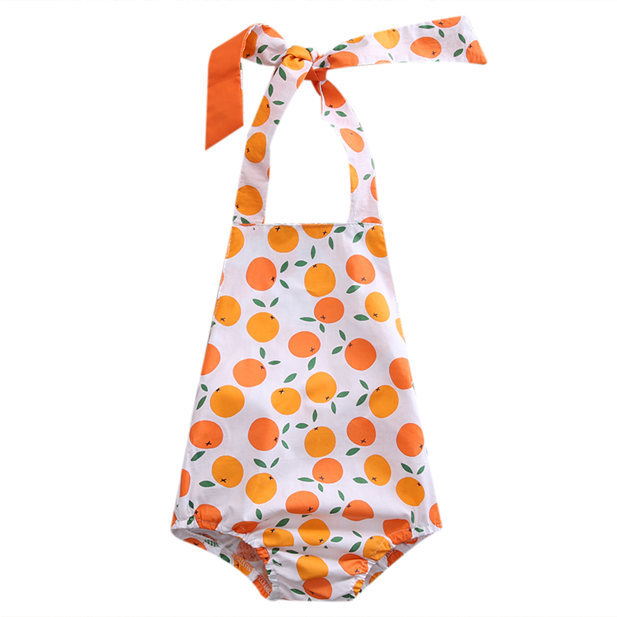 0 24M Babies Oranges Pattern Halter Bodysuits Cute Newborn Toddler Baby Boys Girls Orange Bodysuit Outfits