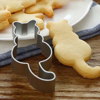 Molde de aluminio para galletas con forma de gatito bonito, cortador para pastelería de masa de Metal, molde para hornear pasteles de gato, molde para azúcar, envío directo #10