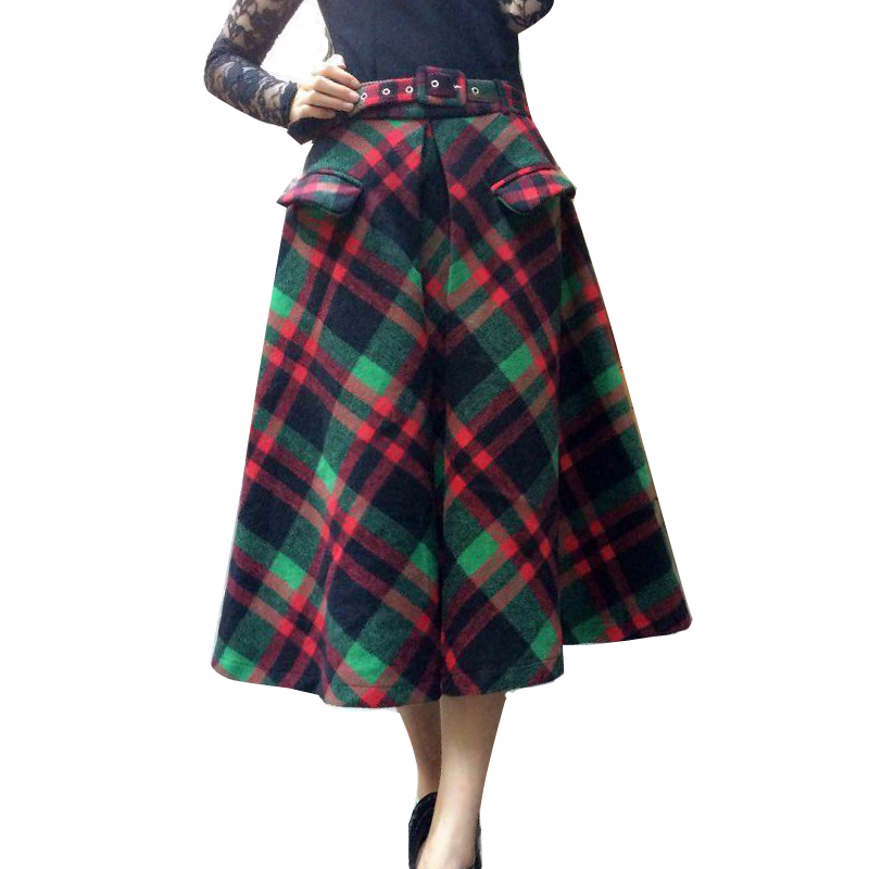 2016 Winter Vintage Wool Blend font b Tartan b font Plaid Flare Long Skirt Blue Green