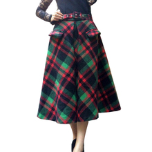 2016 Winter Vintage Wool Blend Tartan Plaid Flare Long Skirt Blue/Green Check Pocket England Tone Belt Calf-length Skirts