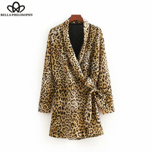 Bella Philosophy 2018 autumn vintage sexy leopard pattern print siamese ladies long sleeve bow plays