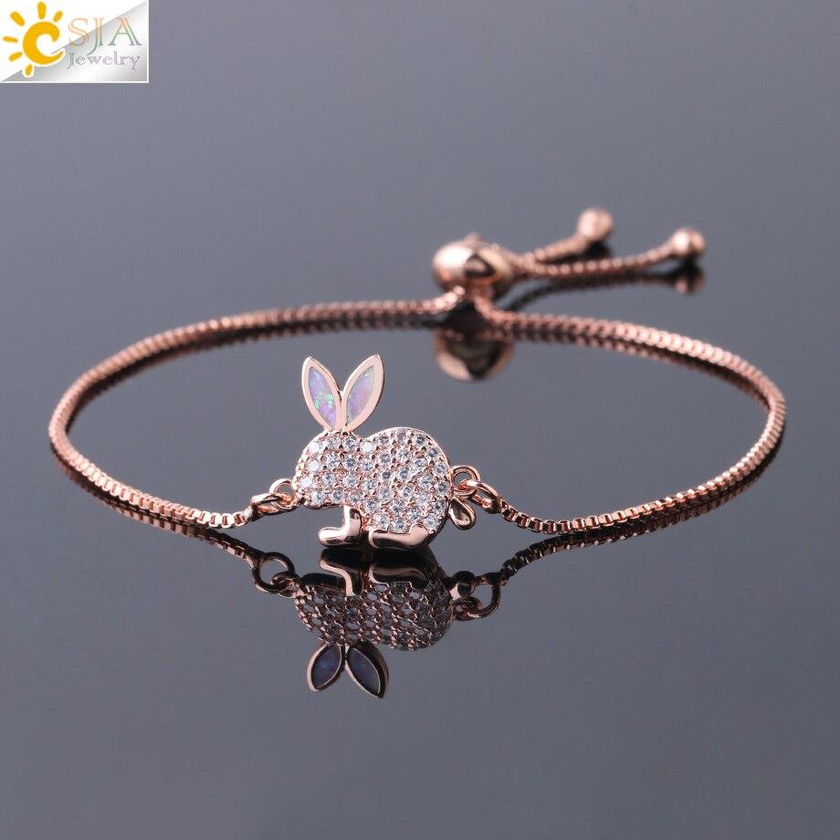 Женский браслет CSJA, милый браслет с подвеской в виде зайчика, с огненным опаловым цирконием, тонкое звено, розовое золото, Роскошные роскошные украшения для девушек, G074|Браслеты с шармами|   | АлиЭкспресс