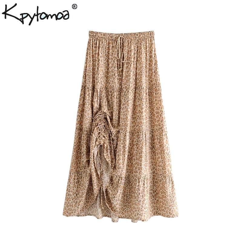 Boho Chic Summer Vintage Leopard Print Pleated Midi Skirt Women 2019 Fashion Elastic Waist Lace Up Beach Skirts Faldas Mujer