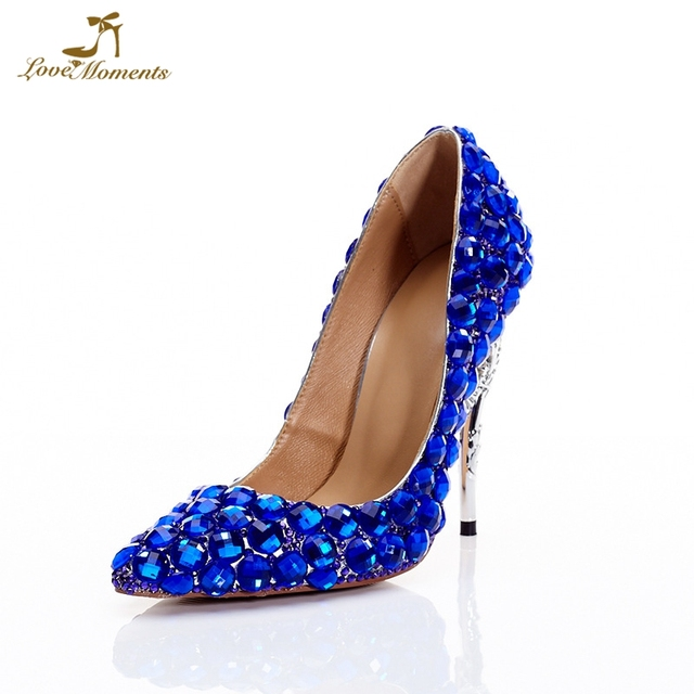 2019 Royal Blue Wedding Party Formal Dress Shoes Lady Matric Graduate Farewell  Ceremony High Heels Bride Dress Shoes Prom Pumps 228c086e2bc5