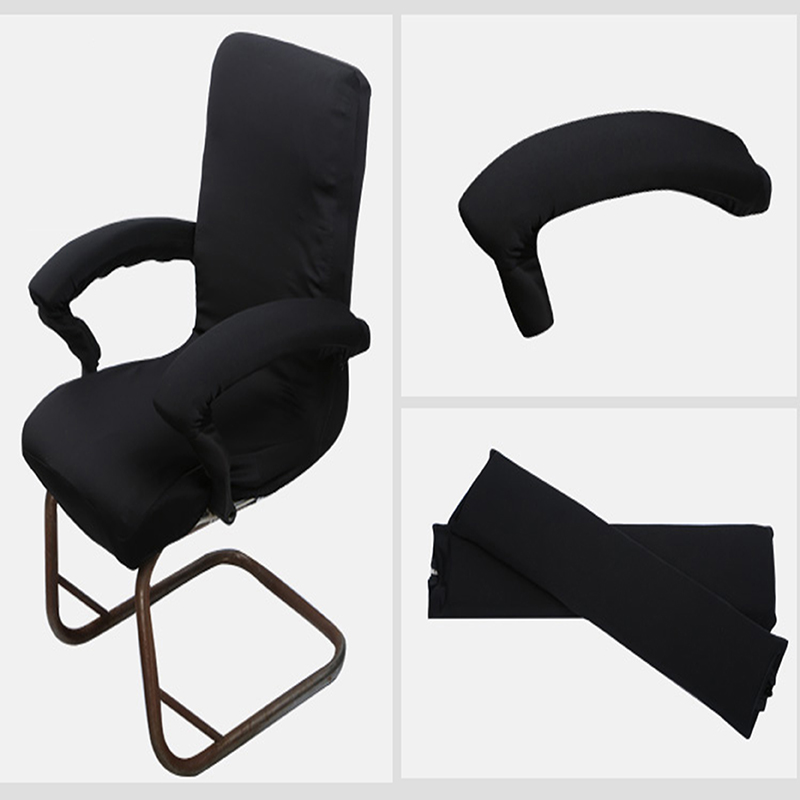 1 Pair Spandex Stretch Office Computer Lift Swivel Armchair Arm Cover Black