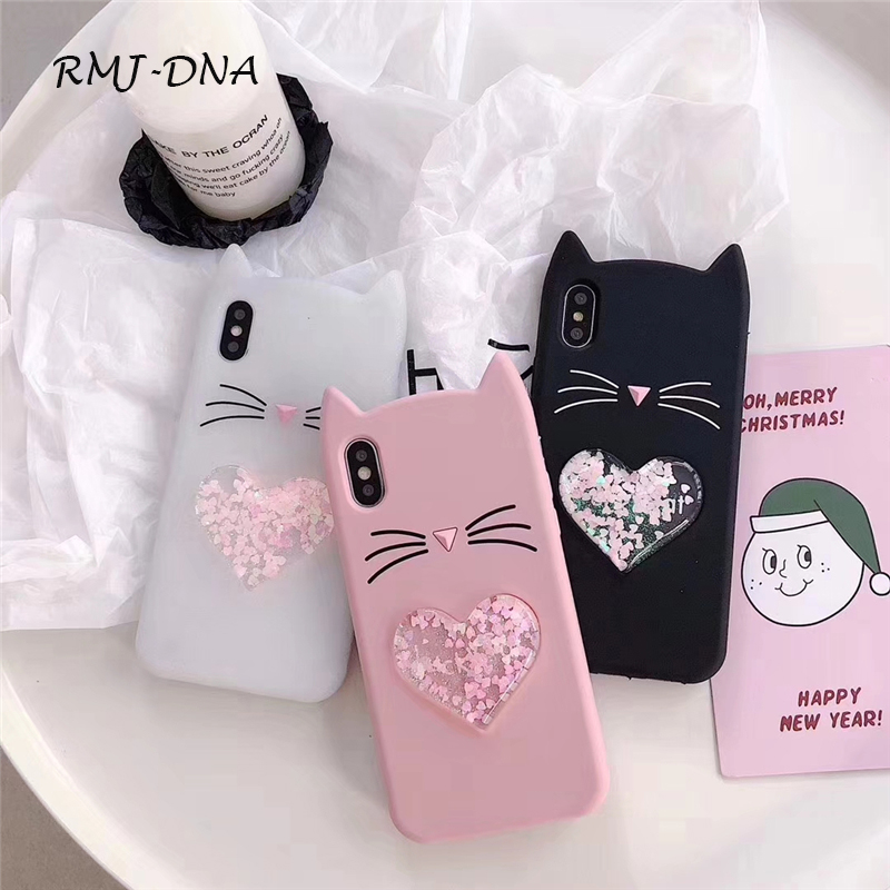 RMJ-DNA Lovely Cartoon Cat Phone Case for iphone X 6 6S 6plus 7 7plus 8 Luxury Soft TPU Love Quicksand Phone Cover for iphoe 7 8 ...