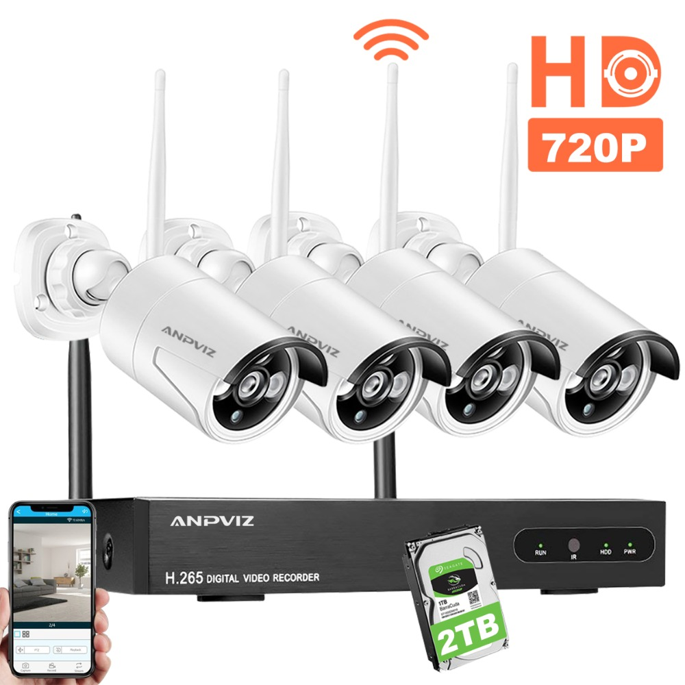 Anpviz HD Wireless Security Camera CCTV System 1080P WiFi 4CH NVR KIT 720P Wi-Fi Bullet IP Camera Video Surveillance Set 2TB HDD