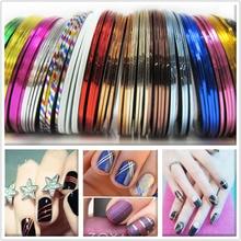 30 Unids/set 2016 Colores Mezclados de Rolls Trazado de Líneas de Cinta Engomada de la Decoración Del Clavo Del Arte Del Clavo, Cuidado de Las Uñas de Arte accesorios Más Nuevos
