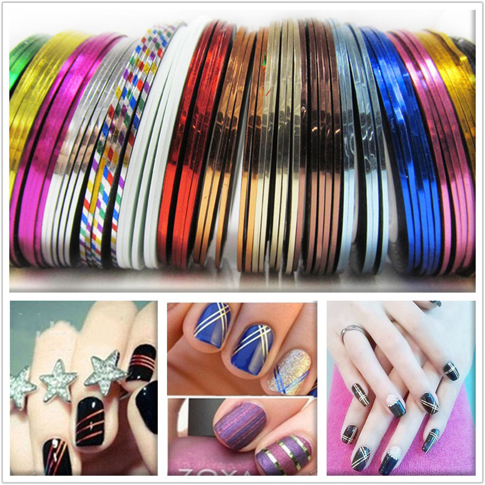 30Pcs/set 2017 Mixed Colors Rolls Striping Tape Line Nail Art Decoration Sticker DIY Nail Tips,Nails Care Art Accessories Newest 14 rolls glitter scrub nail art striping tape line sticker tips diy mixed colors self adhesive decal tools manicure 1mm 2mm 3mm