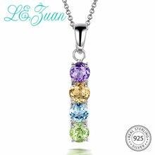 L& zuan трендовые разноцветные камни кулон для женщин натуральный аметист/цитрин/Топаз/перидот 925 пробы серебряный кулон и ожерелья