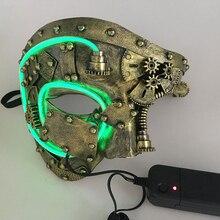 Máscara de led para cosplay de steampunk, máscara de festa com luz em led, caveira, para carnaval e halloween, adereços de fantasia