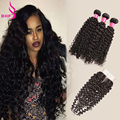 Virgin Brazillian Curly Hair With Closure 3Pcs 8A Wet And Wavy Virgin Brazilian Hair With Closure Kinky Curly Weave With Closure