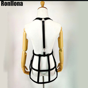Image 4 - Sexy Lingerie Leather Harness Dress For Women Gothic Skirt Fetish Body Strap Waist Bondage Belt Sex Erotic Breast Cage Sexual