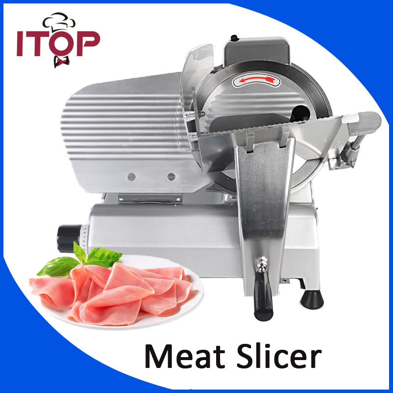 ITOP Commercial Frozen Meat Slicer Ham Cutter 110V 220V Semi-automatic Easy Operation Machine with 10inchs Blade