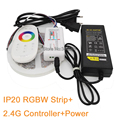 5M 12V 5050 RGBW LED Strip Light IP20 Non-Waterproof RGB+White or RGB+Warm White 60LED/M + 2.4G Remote Controller+ 12V 5A Power