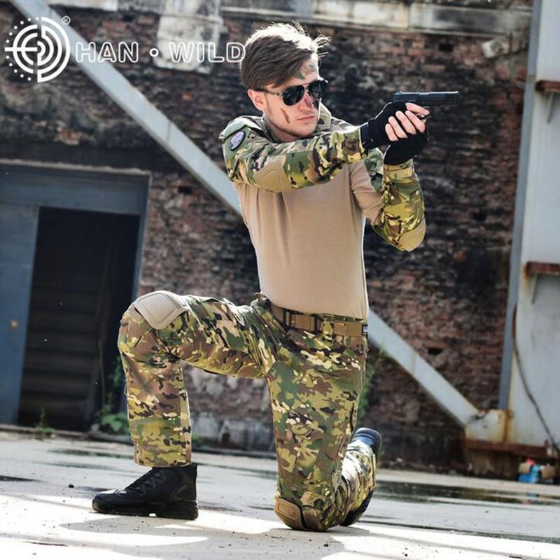 Tactique militaire Camouflage Ghillie costumes Airsoft Paintball chasse vêtements chemise + pantalon avec genouillères et coudières