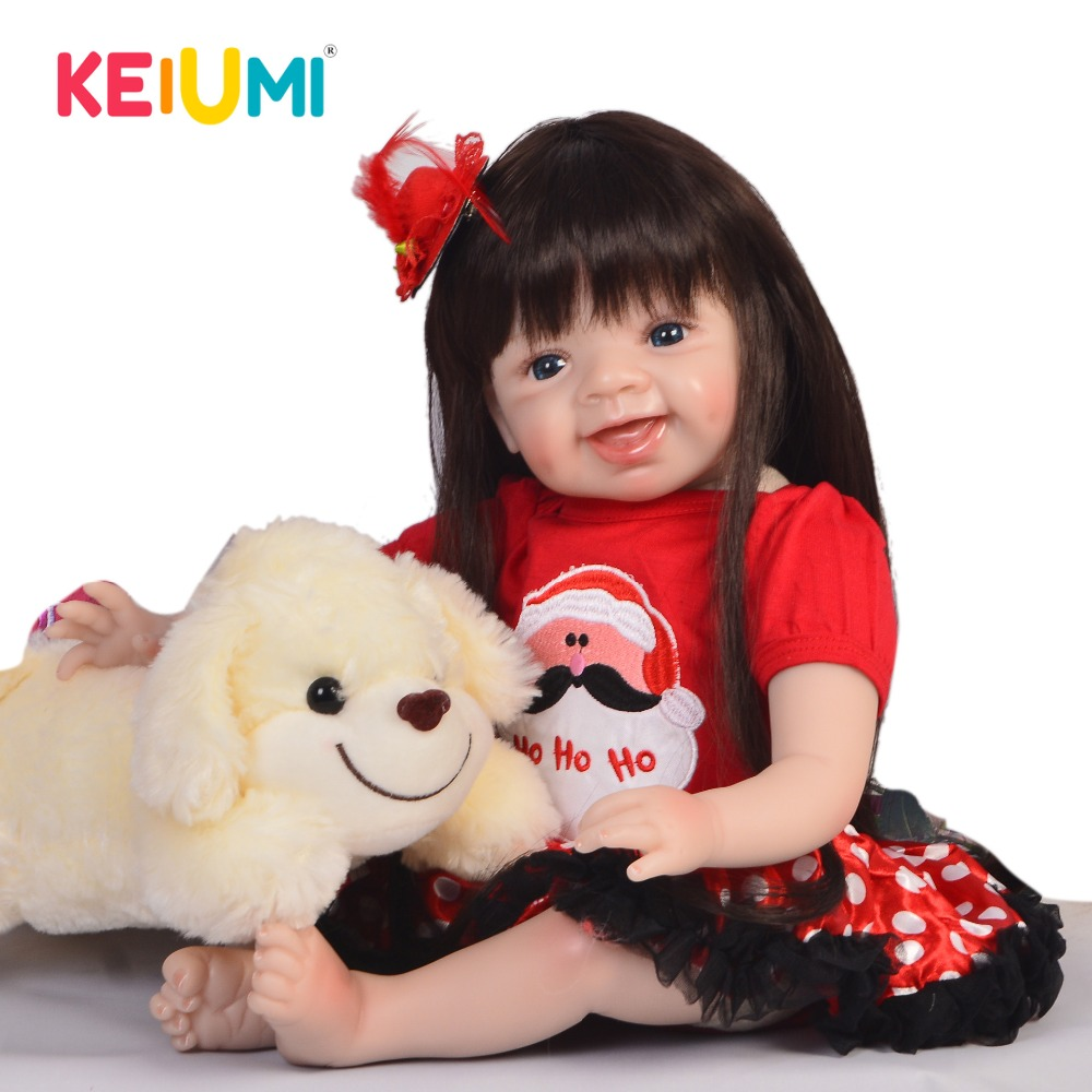 KEIUMI Lovely Smiling 22 Soft Silicone Baby Dolls Long Hair Reborn Baby Girl Doll 55 cm PP Cotton Body Reborns Kids PlaymatesKEIUMI Lovely Smiling 22 Soft Silicone Baby Dolls Long Hair Reborn Baby Girl Doll 55 cm PP Cotton Body Reborns Kids Playmates